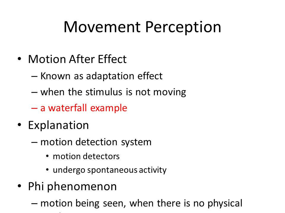 Movement Perception Motion After Effect – Known as adaptation effect – when the stimulus is not moving – a waterfall example Explanation – motion dete