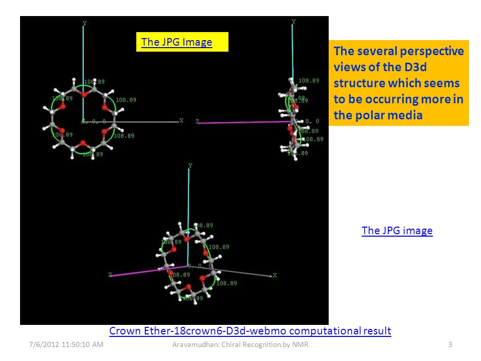 Crown Ether-18crown6-D3d-webmo computational result The JPG image The JPG Image 7/6/2012 11:50:10 AM3Aravamudhan: Chiral Recognition by NMR The several perspective views of the D3d structure which seems to be occurring more in the polar media