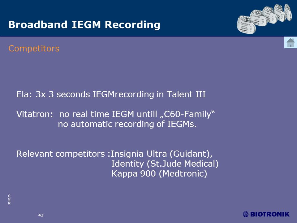 SSt0305 43 Ela: 3x 3 seconds IEGMrecording in Talent III Vitatron: no real time IEGM untill C60-Family no automatic recording of IEGMs. Relevant compe