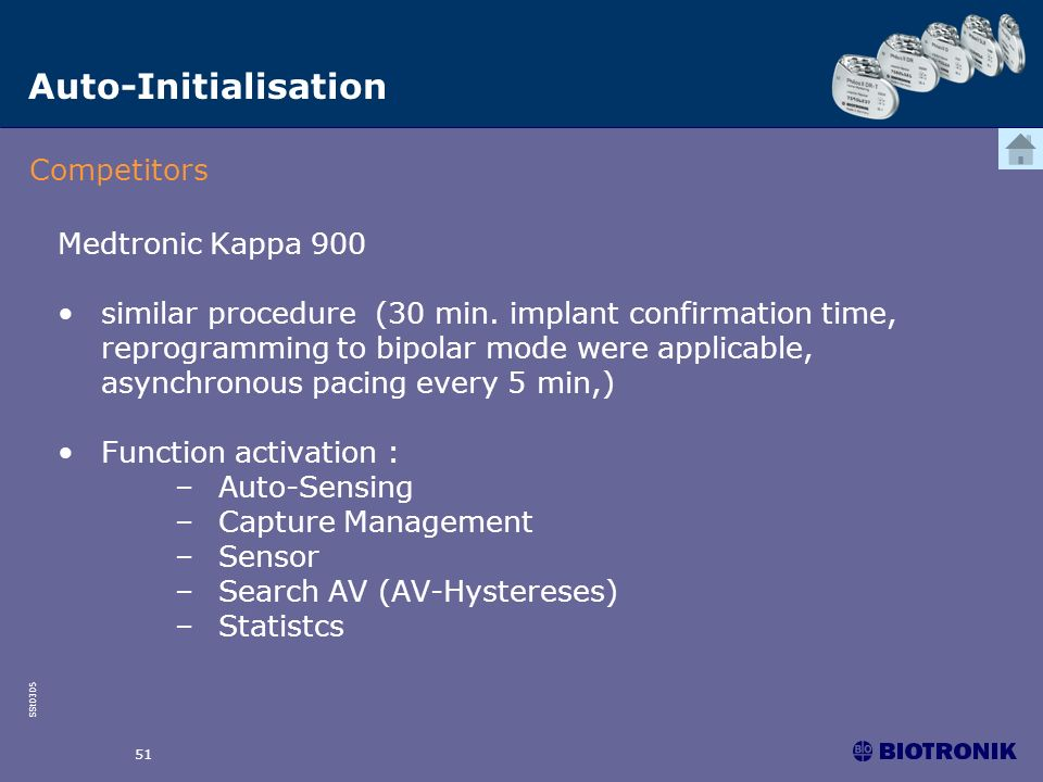 SSt0305 51 Medtronic Kappa 900 similar procedure (30 min. implant confirmation time, reprogramming to bipolar mode were applicable, asynchronous pacin