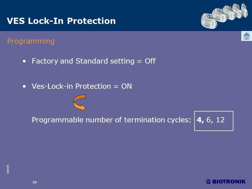 SSt0305 59 Factory and Standard setting = Off Ves-Lock-in Protection = ON Programmable number of termination cycles: 4, 6, 12 Programming VES Lock-In