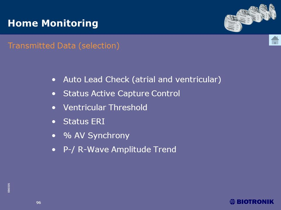 SSt0305 96 Home Monitoring Transmitted Data (selection) Auto Lead Check (atrial and ventricular) Status Active Capture Control Ventricular Threshold S