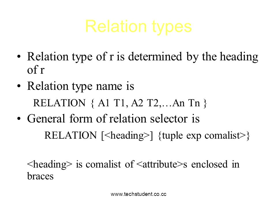www.techstudent.co.cc Relation types Relation type of r is determined by the heading of r Relation type name is RELATION { A1 T1, A2 T2,…An Tn } Gener
