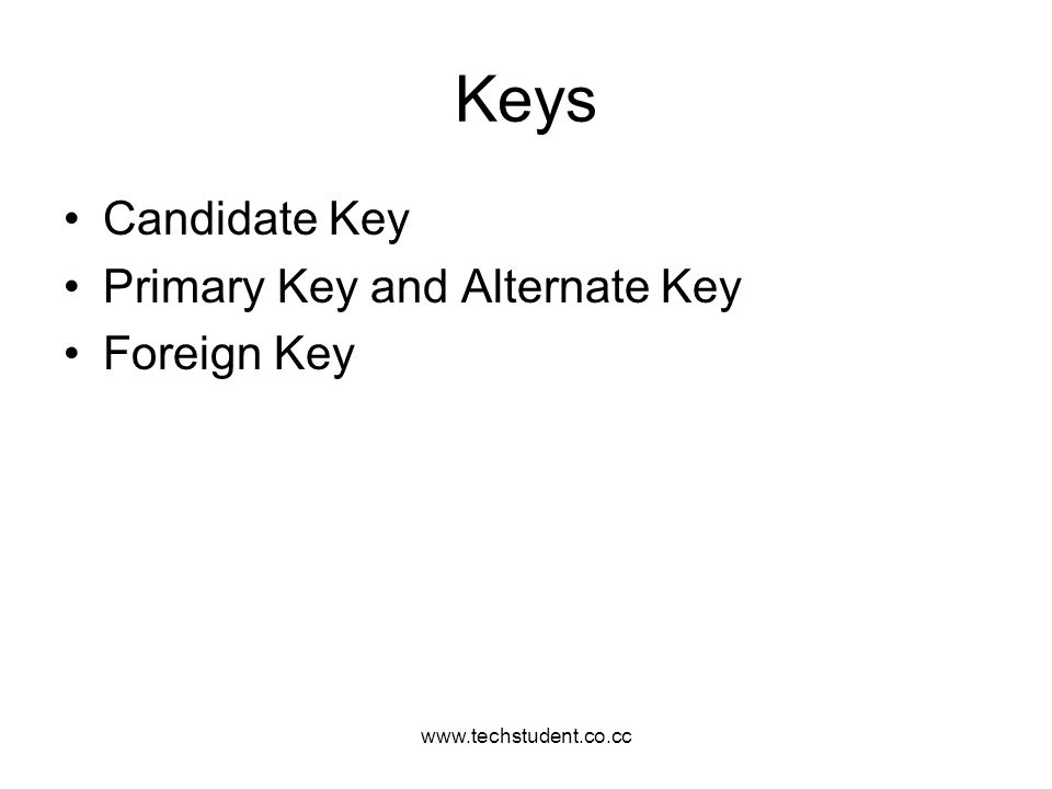 www.techstudent.co.cc Keys Candidate Key Primary Key and Alternate Key Foreign Key