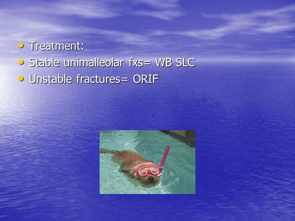 Treatment: Treatment: Stable unimalleolar fxs= WB SLC Stable unimalleolar fxs= WB SLC Unstable fractures= ORIF Unstable fractures= ORIF