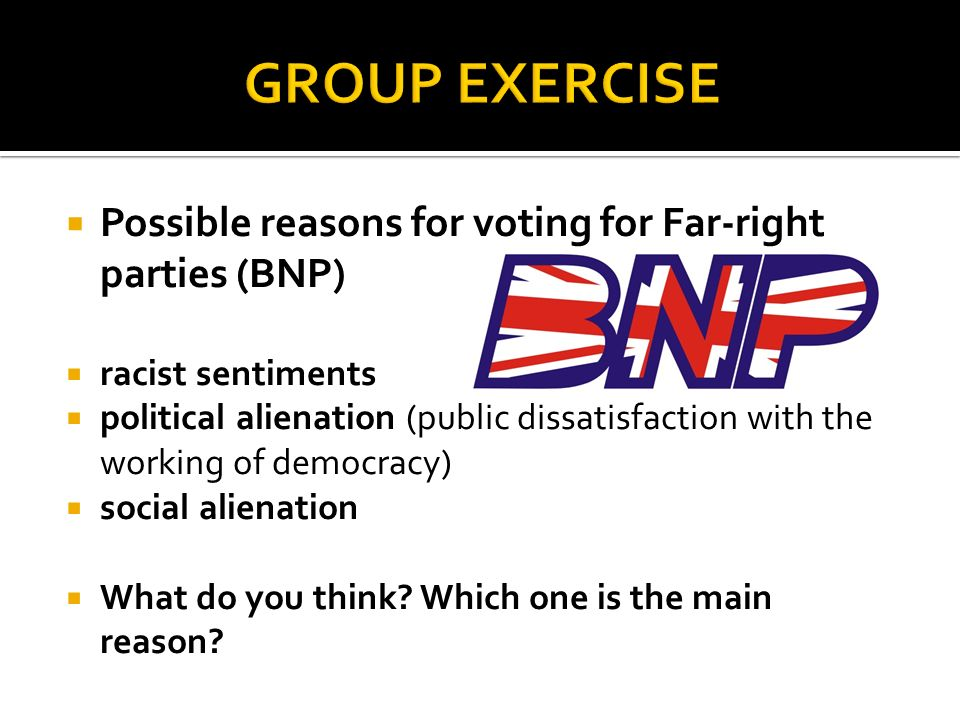 Possible reasons for voting for Far-right parties (BNP) racist sentiments political alienation (public dissatisfaction with the working of democracy) social alienation What do you think.