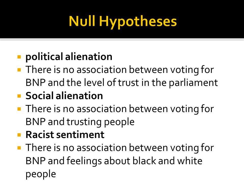 political alienation There is no association between voting for BNP and the level of trust in the parliament Social alienation There is no association between voting for BNP and trusting people Racist sentiment There is no association between voting for BNP and feelings about black and white people