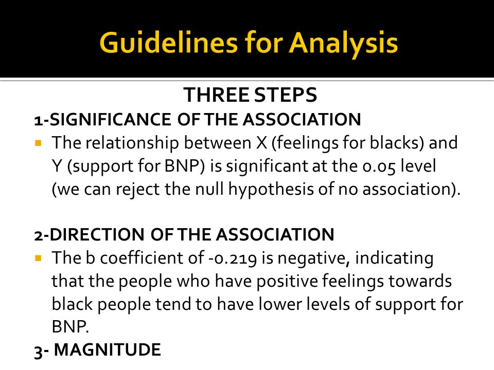 THREE STEPS 1-SIGNIFICANCE OF THE ASSOCIATION The relationship between X (feelings for blacks) and Y (support for BNP) is significant at the 0.05 leve