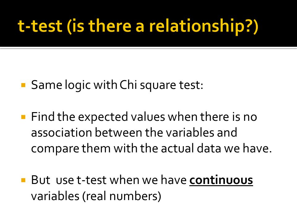 Same logic with Chi square test: Find the expected values when there is no association between the variables and compare them with the actual data we have.