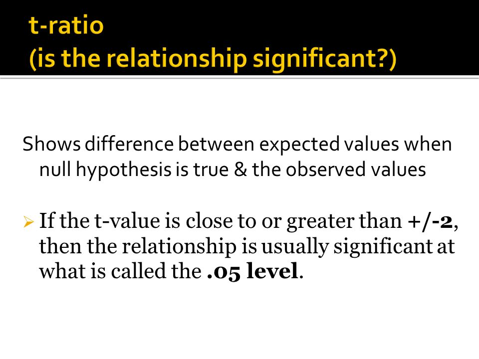 Shows difference between expected values when null hypothesis is true & the observed values If the t-value is close to or greater than +/-2, then the relationship is usually significant at what is called the.05 level.