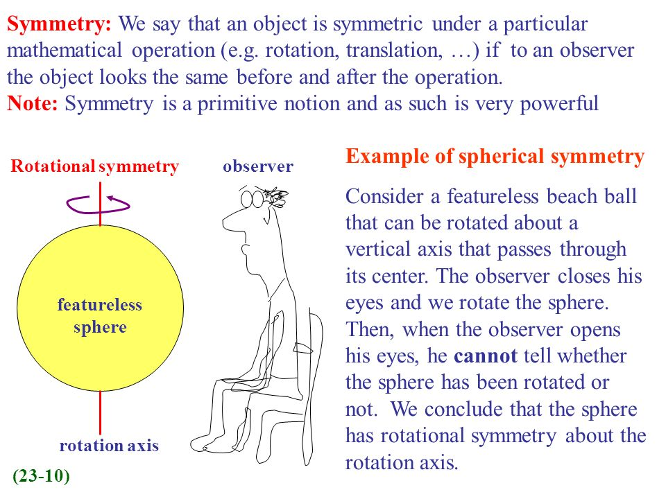 Symmetry: We say that an object is symmetric under a particular mathematical operation (e.g. rotation, translation, …) if to an observer the object lo