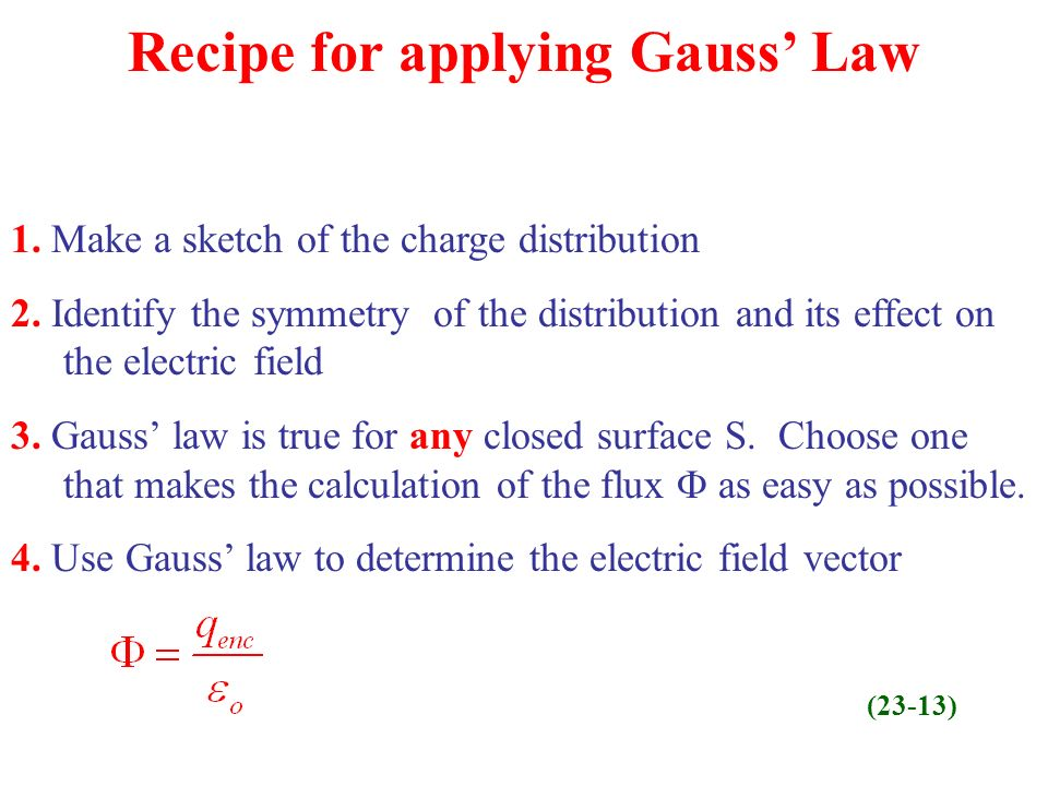 Recipe for applying Gauss Law 1.Make a sketch of the charge distribution 2.