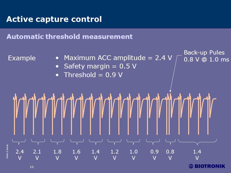 Philos II family 11 2.4 V 1.6 V 1.8 V 2.1 V 1.4 V 1.2 V 1.0 V 0.9 V 0.8 V 1.4 V Maximum ACC amplitude = 2.4 V Safety margin = 0.5 V Threshold = 0.9 V