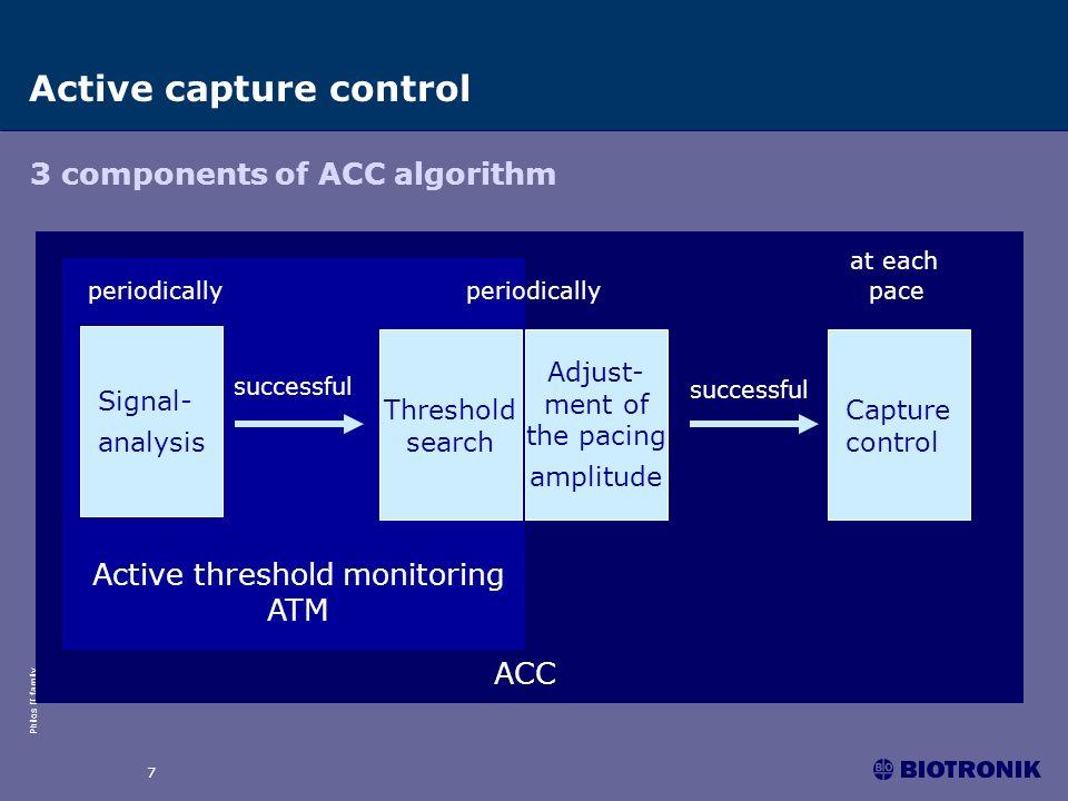 Philos II family 7 ACC 3 components of ACC algorithm successful Active capture control Adjust- ment of the pacing amplitude Capture control Active thr