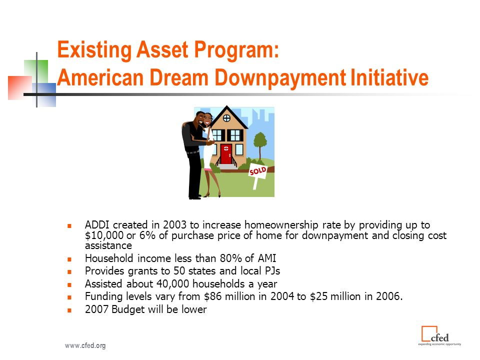 Existing Asset Program: American Dream Downpayment Initiative ADDI created in 2003 to increase homeownership rate by providing up to $10,000 or 6% of purchase price of home for downpayment and closing cost assistance Household income less than 80% of AMI Provides grants to 50 states and local PJs Assisted about 40,000 households a year Funding levels vary from $86 million in 2004 to $25 million in 2006.