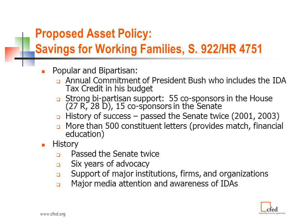 Proposed Asset Policy: Savings for Working Families, S.
