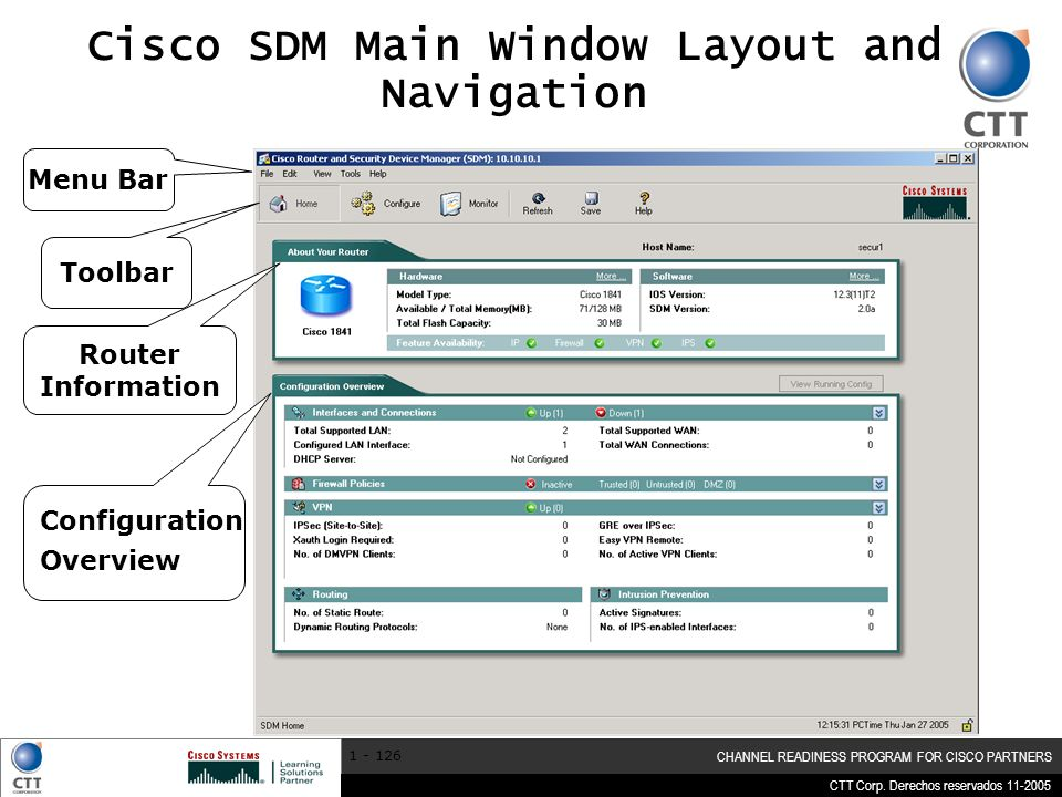 CTT Corp. Derechos reservados 11-2005 CHANNEL READINESS PROGRAM FOR CISCO PARTNERS 1 - 126 Cisco SDM Main Window Layout and Navigation Menu Bar Toolba