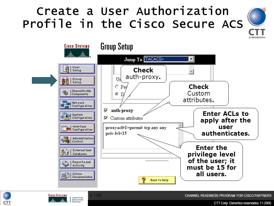CTT Corp. Derechos reservados 11-2005 CHANNEL READINESS PROGRAM FOR CISCO PARTNERS 1 - 68 Create a User Authorization Profile in the Cisco Secure ACS