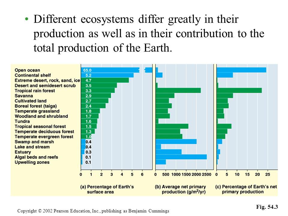 Different ecosystems differ greatly in their production as well as in their contribution to the total production of the Earth. Copyright © 2002 Pearso