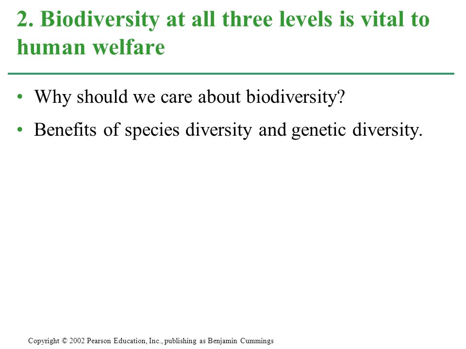 Why should we care about biodiversity? Benefits of species diversity and genetic diversity. 2. Biodiversity at all three levels is vital to human welf