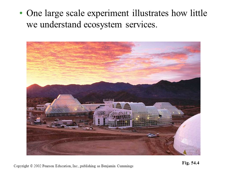 One large scale experiment illustrates how little we understand ecosystem services. Copyright © 2002 Pearson Education, Inc., publishing as Benjamin C