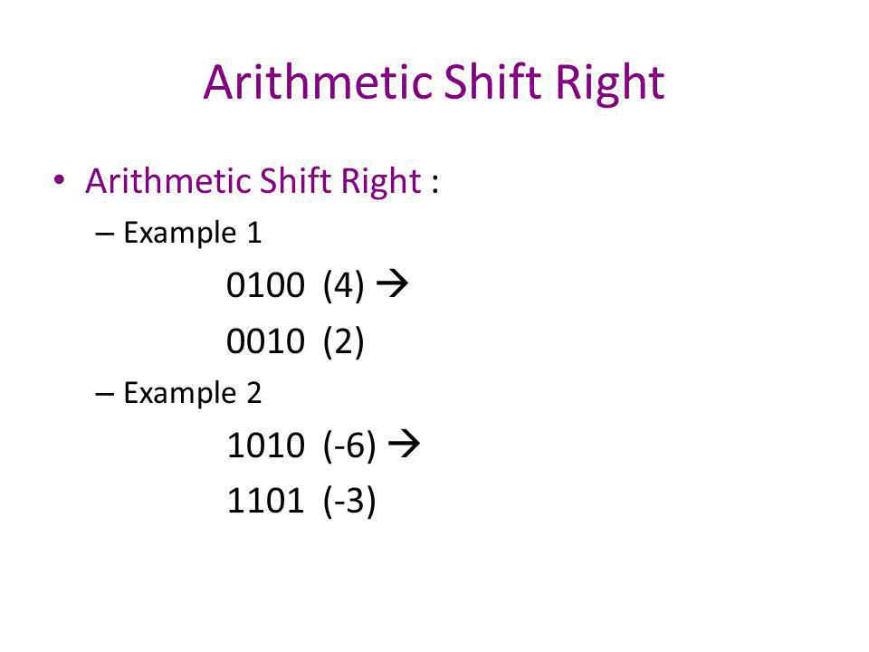 Arithmetic Shift Left LSB Carry out Sign bit R n-1 R n-2 Vs=1 : Overflow Vs=0 : use sign bit LSB 0 insert The operation is same with Logic shift-left The only difference is you need to check overflow problem