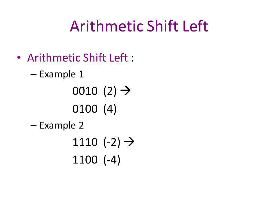 Arithmetic Shift Left Arithmetic Shift Left : – Example 3 0100 (4) 1000 (overflow) – Example 4 1010 (-6) 0100 (overflow)