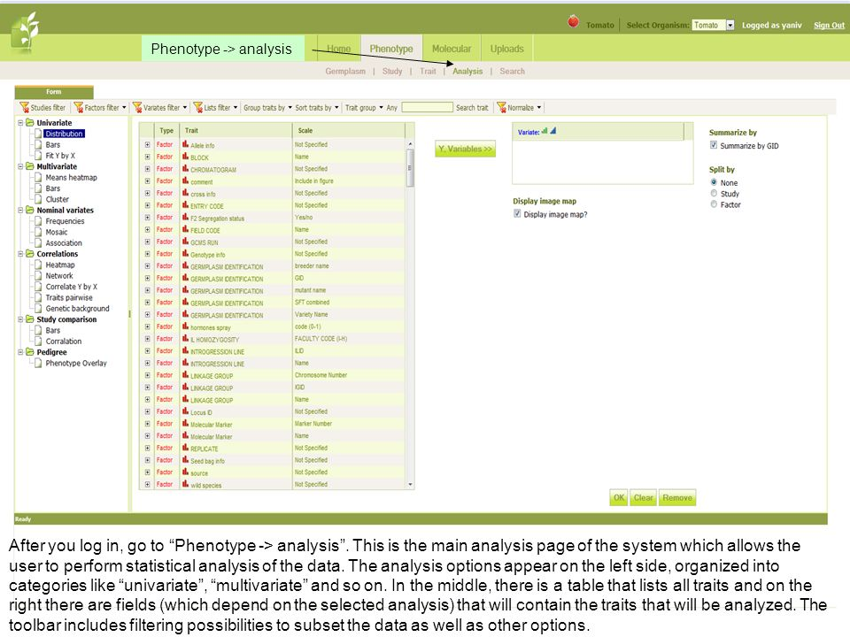 After you log in, go to Phenotype -> analysis. This is the main analysis page of the system which allows the user to perform statistical analysis of t