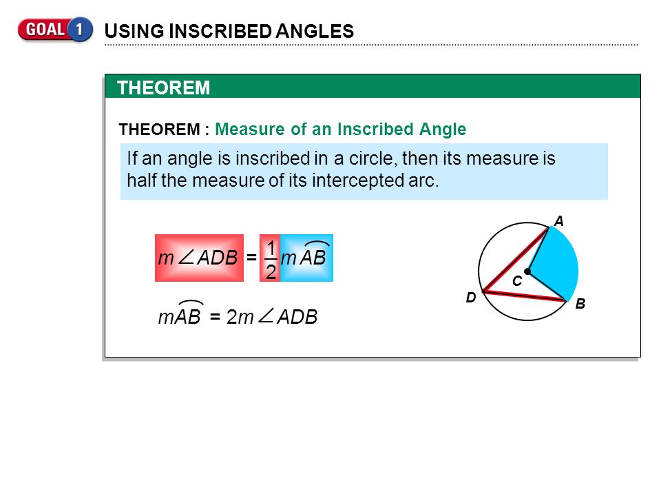 THEOREM U SING I NSCRIBED A NGLES THEOREM : Measure of an Inscribed Angle If an angle is inscribed in a circle, then its measure is half the measure o