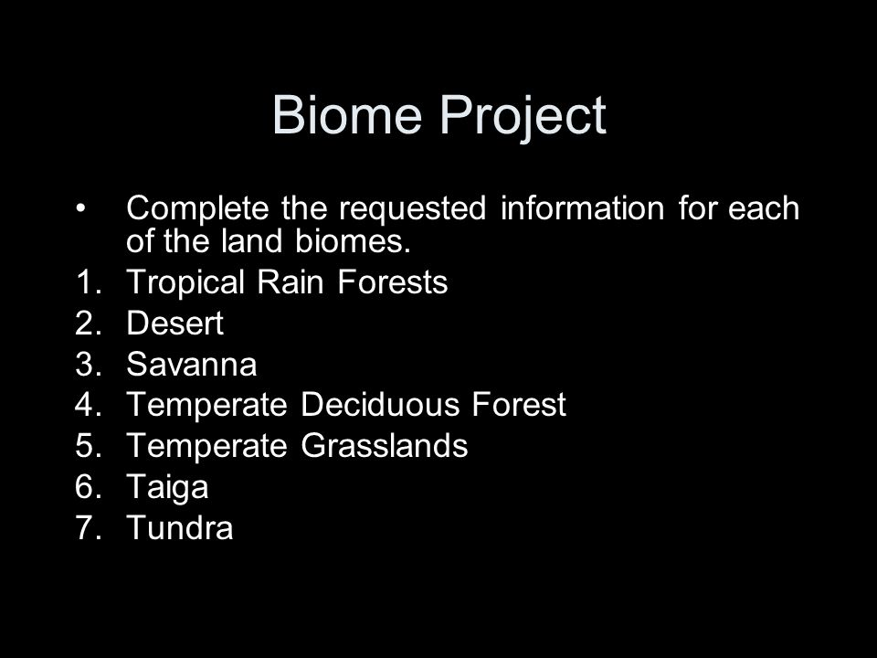 Biome Project Complete the requested information for each of the land biomes. 1.Tropical Rain Forests 2.Desert 3.Savanna 4.Temperate Deciduous Forest