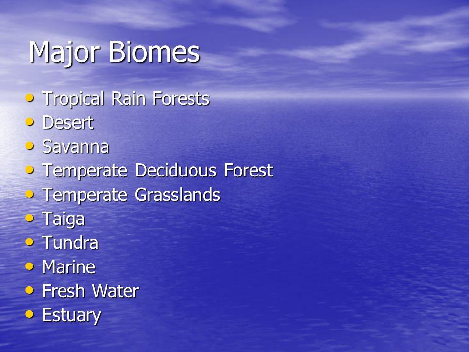 Major Biomes Tropical Rain Forests Tropical Rain Forests Desert Desert Savanna Savanna Temperate Deciduous Forest Temperate Deciduous Forest Temperate