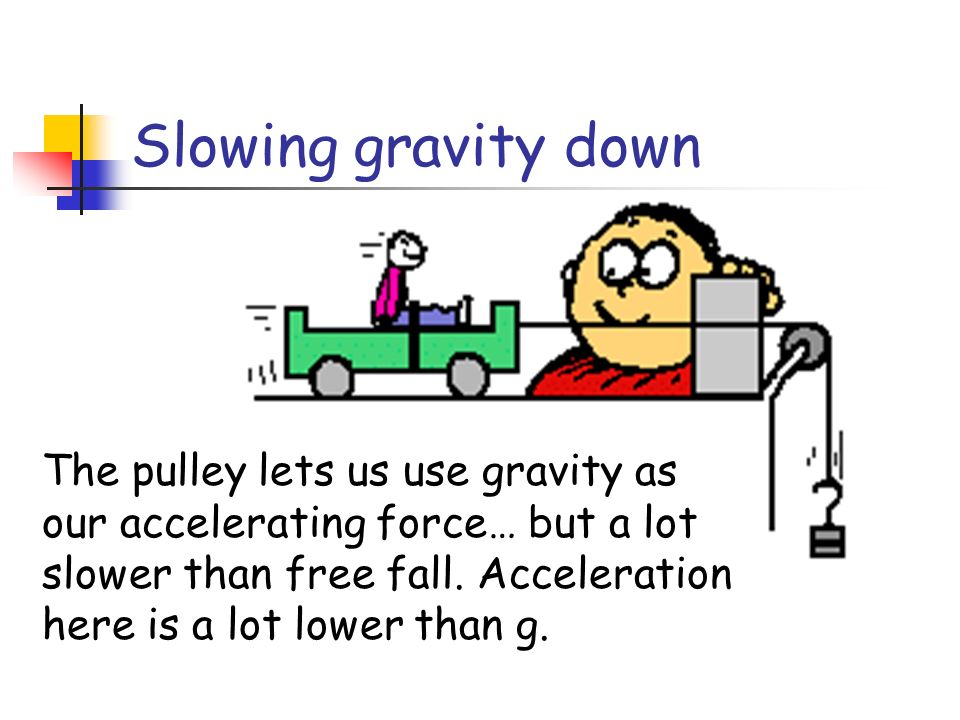 The pulley lets us use gravity as our accelerating force… but a lot slower than free fall. Acceleration here is a lot lower than g. Slowing gravity do