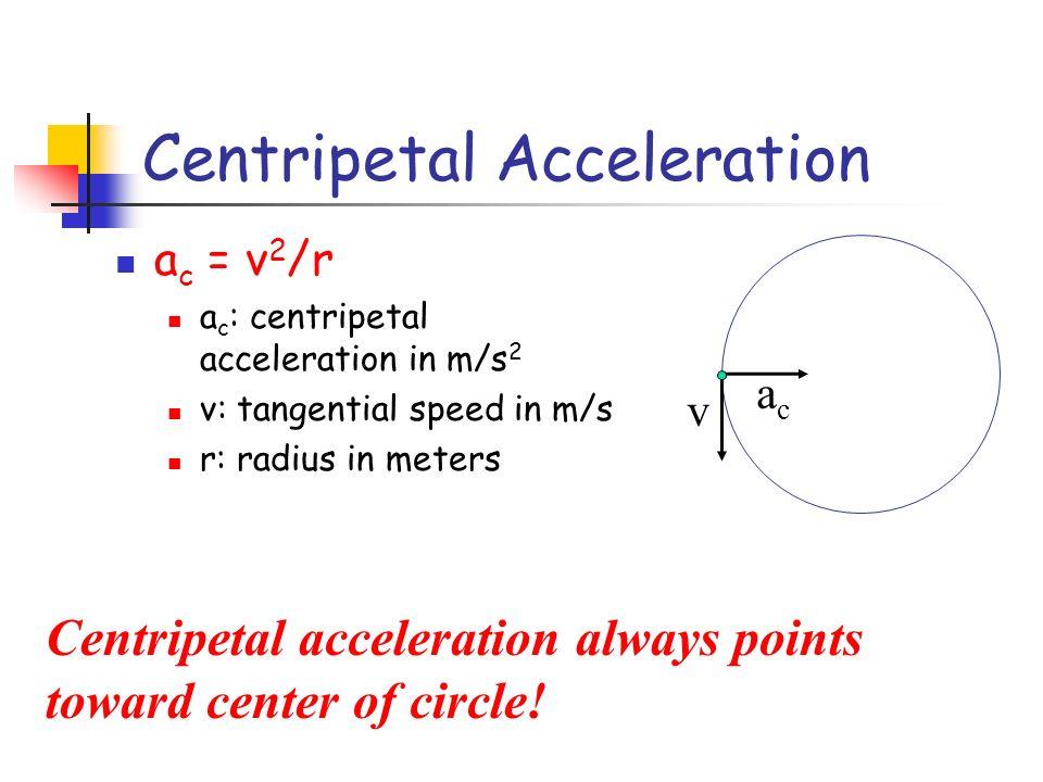Centripetal Acceleration a c = v 2 /r a c : centripetal acceleration in m/s 2 v: tangential speed in m/s r: radius in meters v acac Centripetal accele