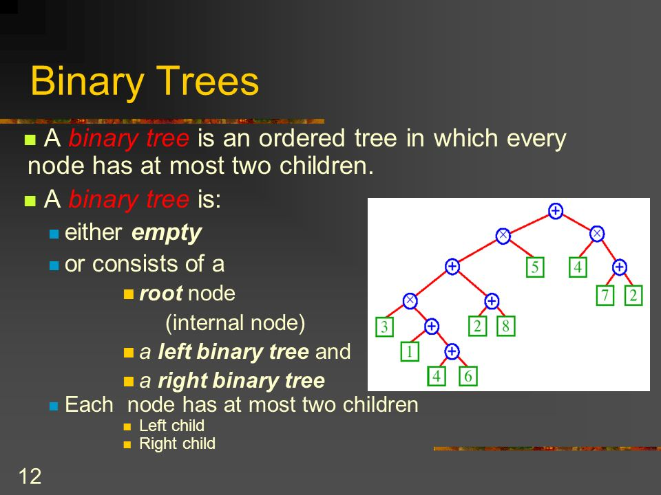 12 Binary Trees A binary tree is an ordered tree in which every node has at most two children.