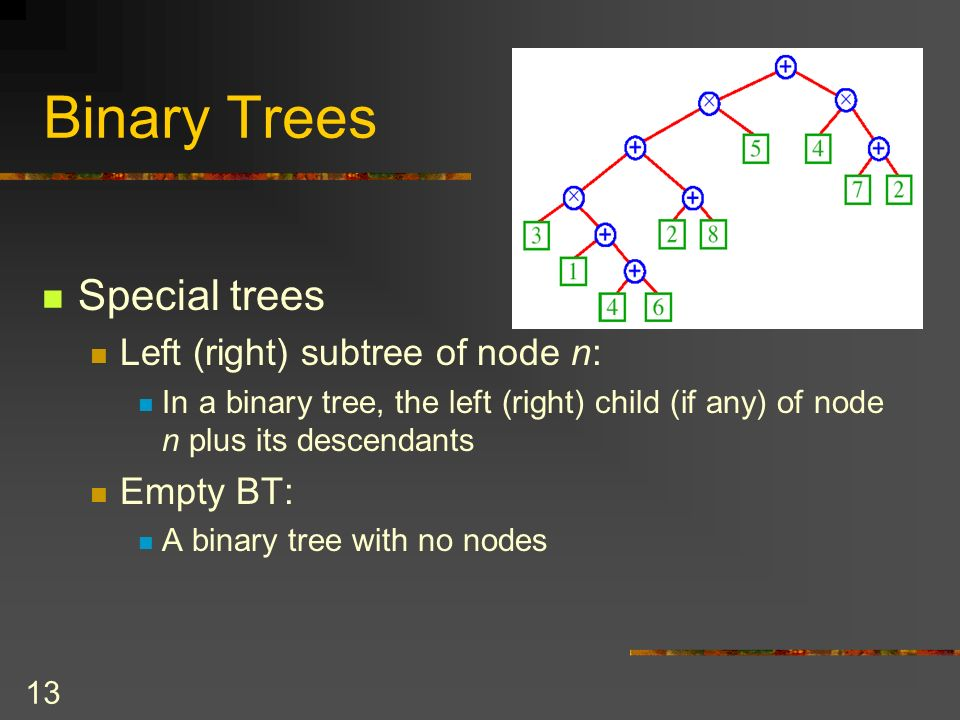 13 Binary Trees Special trees Left (right) subtree of node n: In a binary tree, the left (right) child (if any) of node n plus its descendants Empty BT: A binary tree with no nodes