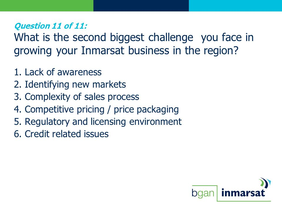Question 11 of 11: What is the second biggest challenge you face in growing your Inmarsat business in the region.