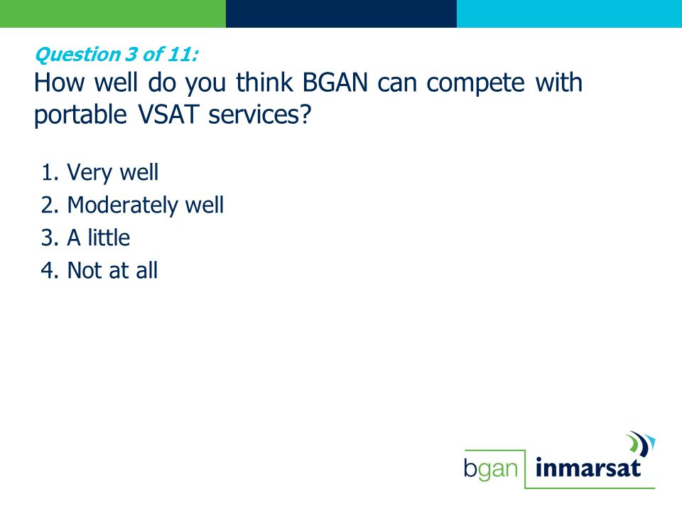 Question 3 of 11: How well do you think BGAN can compete with portable VSAT services? 1. Very well 2. Moderately well 3. A little 4. Not at all