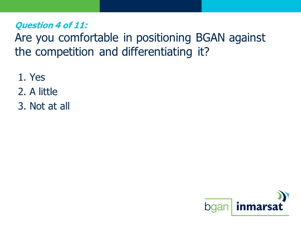 Question 4 of 11: Are you comfortable in positioning BGAN against the competition and differentiating it? 1. Yes 2. A little 3. Not at all