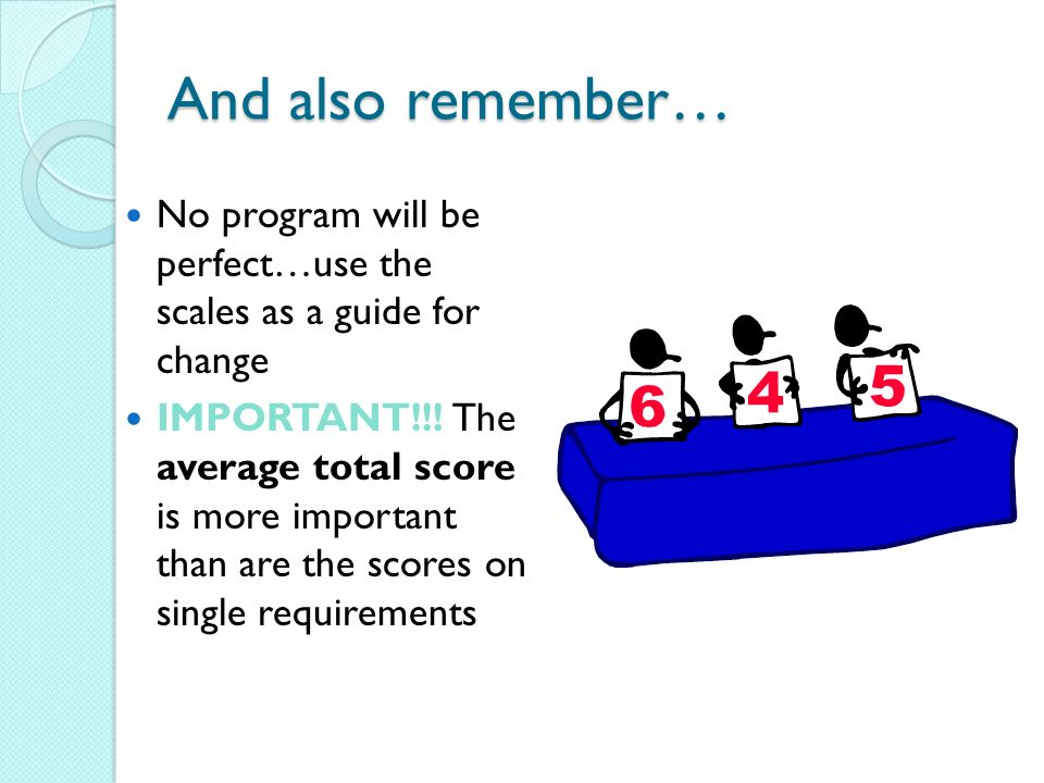 And also remember… No program will be perfect…use the scales as a guide for change IMPORTANT!!.