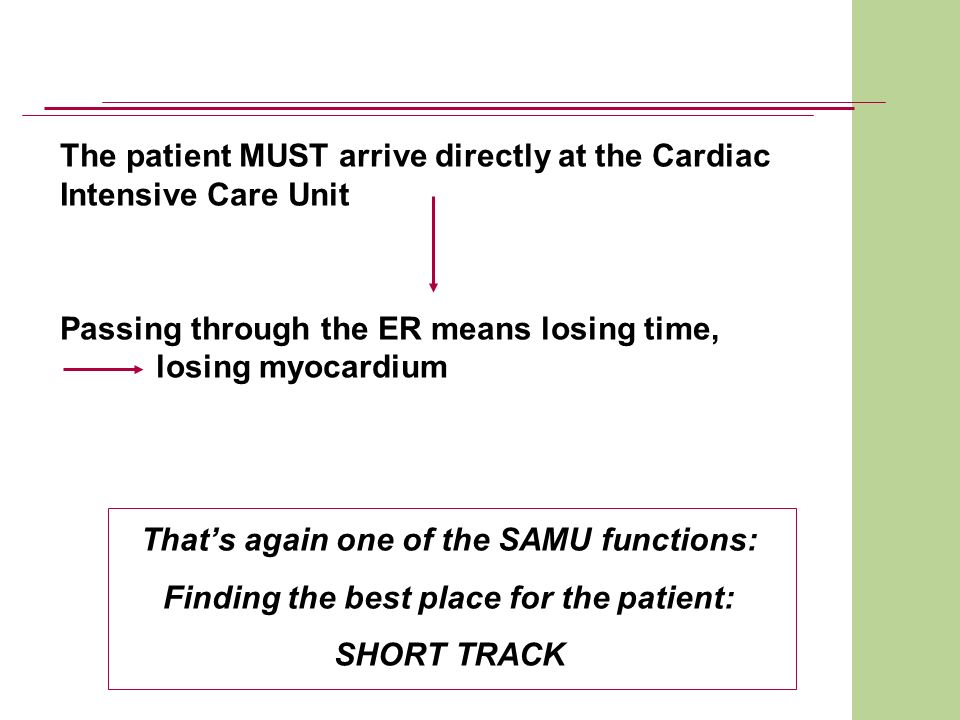 The patient MUST arrive directly at the Cardiac Intensive Care Unit Passing through the ER means losing time, losing myocardium Thats again one of the