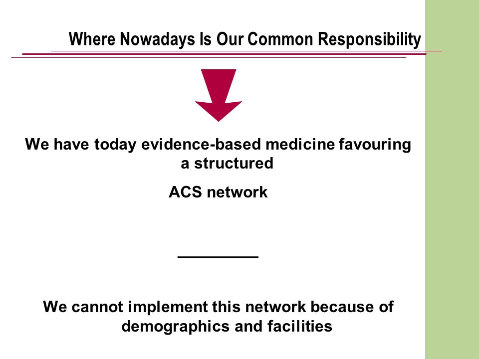 Where Nowadays Is Our Common Responsibility We have today evidence-based medicine favouring a structured ACS network _________ We cannot implement thi