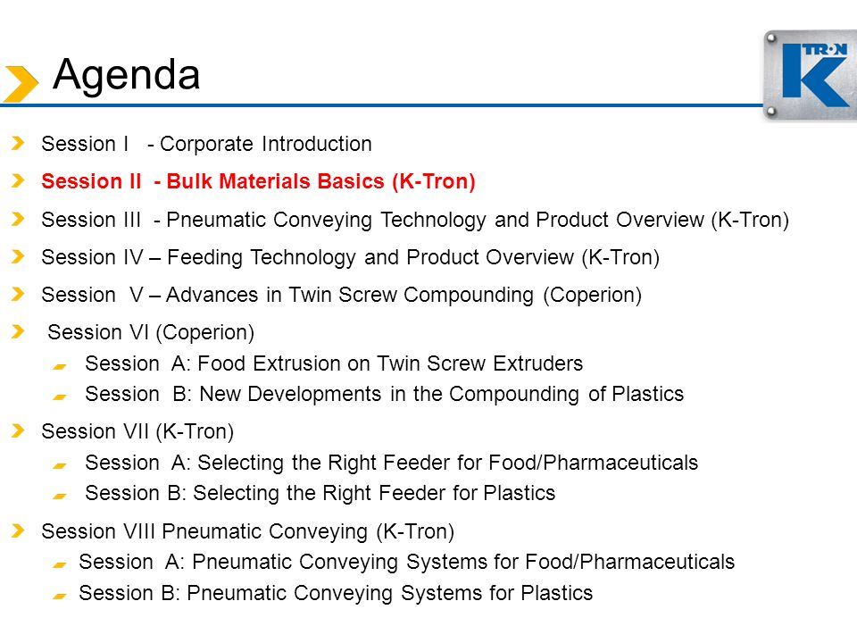 Agenda Session I - Corporate Introduction Session II - Bulk Materials Basics (K-Tron) Session III - Pneumatic Conveying Technology and Product Overvie