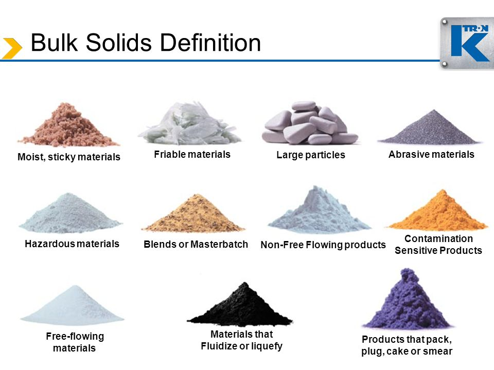 Moist, sticky materials Friable materials Large particles Blends or Masterbatch Abrasive materials Non-Free Flowing products Free-flowing materials Co