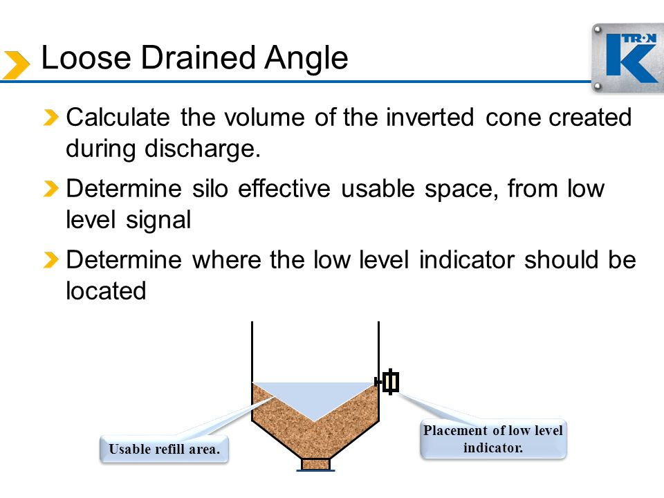 Loose Drained Angle Calculate the volume of the inverted cone created during discharge. Determine silo effective usable space, from low level signal D
