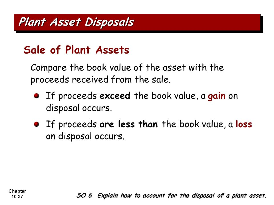Chapter 10-37 Sale of Plant Assets Compare the book value of the asset with the proceeds received from the sale. If proceeds exceed the book value, a