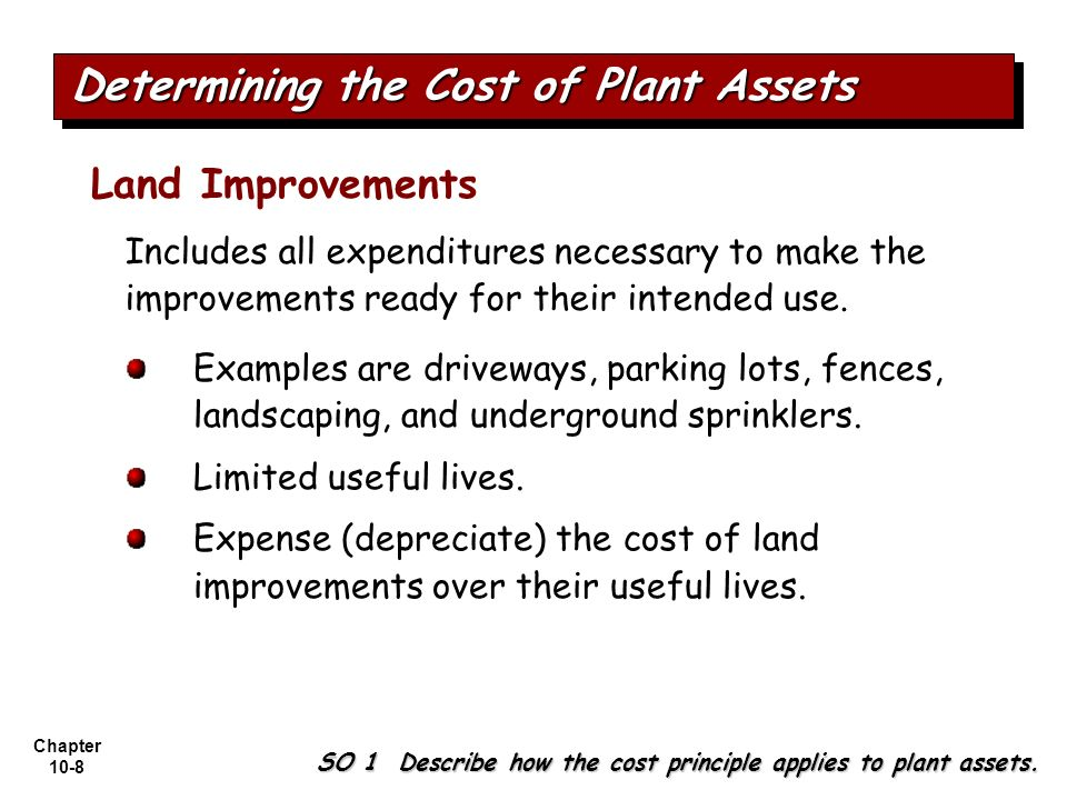 Chapter 10-8 Includes all expenditures necessary to make the improvements ready for their intended use. Land Improvements Determining the Cost of Plan