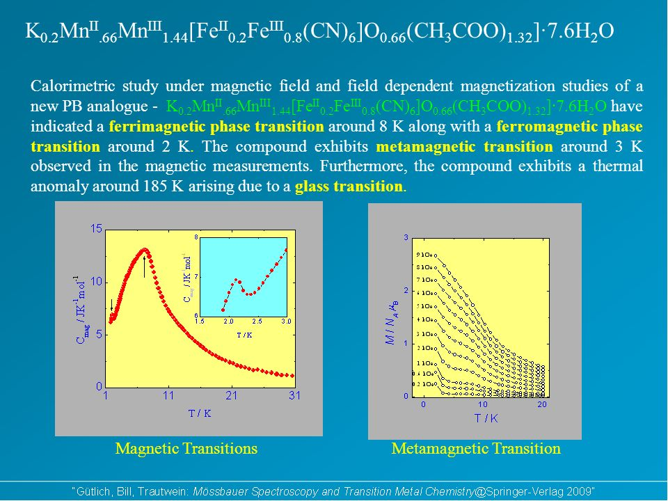K 0.2 Mn II.66 Mn III 1.44 [Fe II 0.2 Fe III 0.8 (CN) 6 ]O 0.66 (CH 3 COO) 1.32 ]·7.6H 2 O Calorimetric study under magnetic field and field dependent magnetization studies of a new PB analogue - K 0.2 Mn II.66 Mn III 1.44 [Fe II 0.2 Fe III 0.8 (CN) 6 ]O 0.66 (CH 3 COO) 1.32 ]·7.6H 2 O have indicated a ferrimagnetic phase transition around 8 K along with a ferromagnetic phase transition around 2 K.