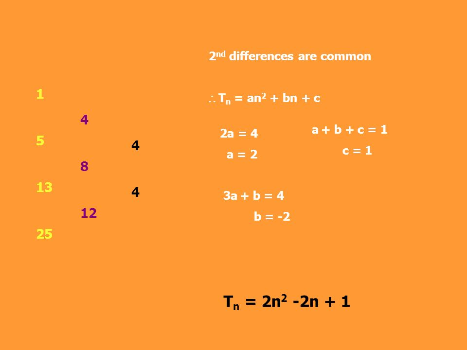 1 5 13 25 4 8 12 4444 2 nd differences are common T n = an 2 + bn + c 2a = 4 a = 2 3a + b = 4 b = -2 a + b + c = 1 c = 1 T n = 2n 2 -2n + 1
