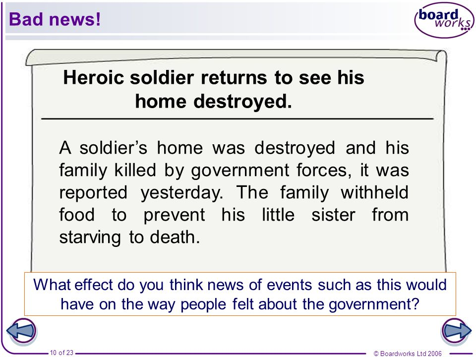 © Boardworks Ltd 2006 10 of 23 What effect do you think news of events such as this would have on the way people felt about the government? A soldiers