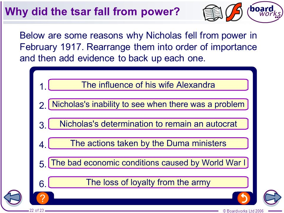 © Boardworks Ltd 2006 22 of 23 Below are some reasons why Nicholas fell from power in February 1917. Rearrange them into order of importance and then